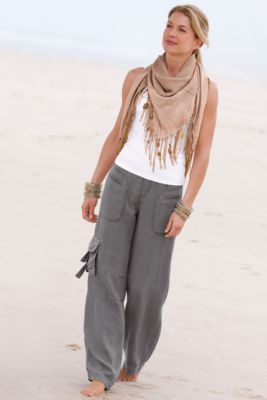 Linen (?) cargo pants + tank + scarf -- change out color scheme, maybe olive pants  petrol blue scarf?