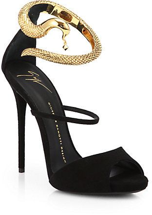 #Giuseppe #Zanotti Suede Snake-Strap Sandals A goldtone snake charms its way around the top of this ankle-strapped silhouette, meticulously crafted in luscious Italian suede