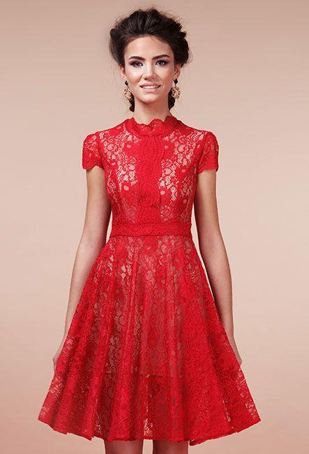Красное коктейльное платье из кружева | Red lace cocktail dress from