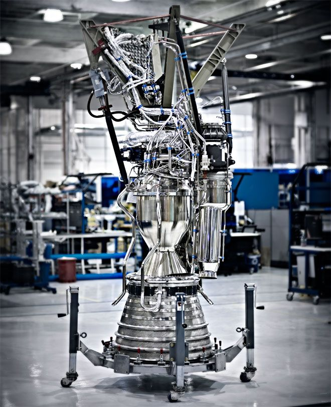 A Merlin engine - nine Merlin's are used in the first stage of the SpaceX Falcon 9 launch vehicle. Photo: Art Streiber