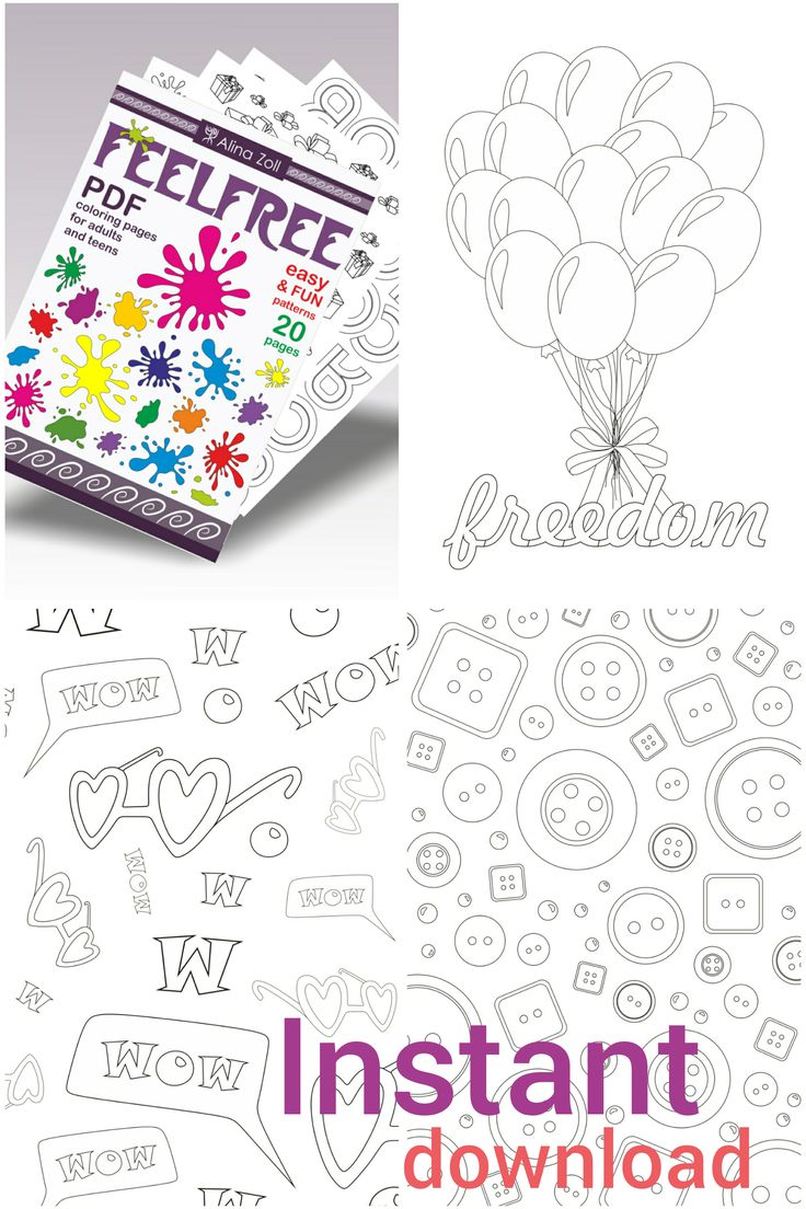 Fun Adult Coloring Book Digital Download Pdf Simple Coloring Pages for grown ups