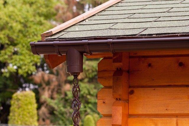 Regenkettingset voor aan uw dakgoot van een tuinhuis, blokhut, chalet, garage of carport.