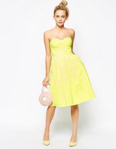 Robe jaune motif roses coupe bandeau mi longue vas e et for Robe jaune pour mariage