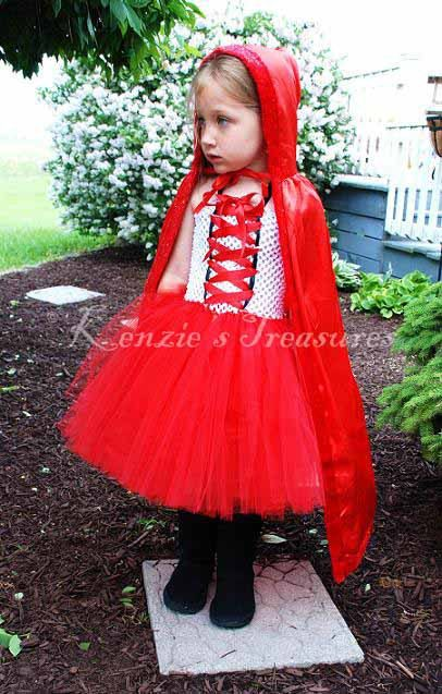 Little Red Riding Hood Tutu Dress and Hooded Cape - Size 2T to Girl's Size 6 on Etsy, $35.00