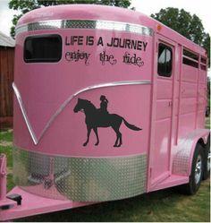 Pink horse trailer.