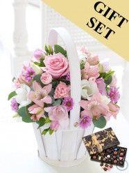 Pretty Pink Petite Basket & Chocolates