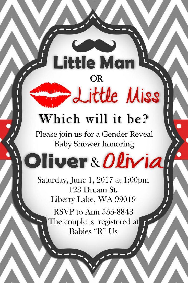 40 best gender reveal baby shower invitation images on pinterest little man or little miss gender reveal baby shower invitation stopboris Image collections