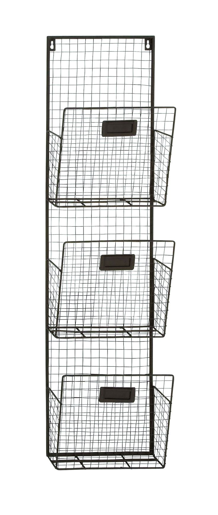 "38"" Rustic Wire 3 Pocket Wall Organizer Letter Holder Office Decor"