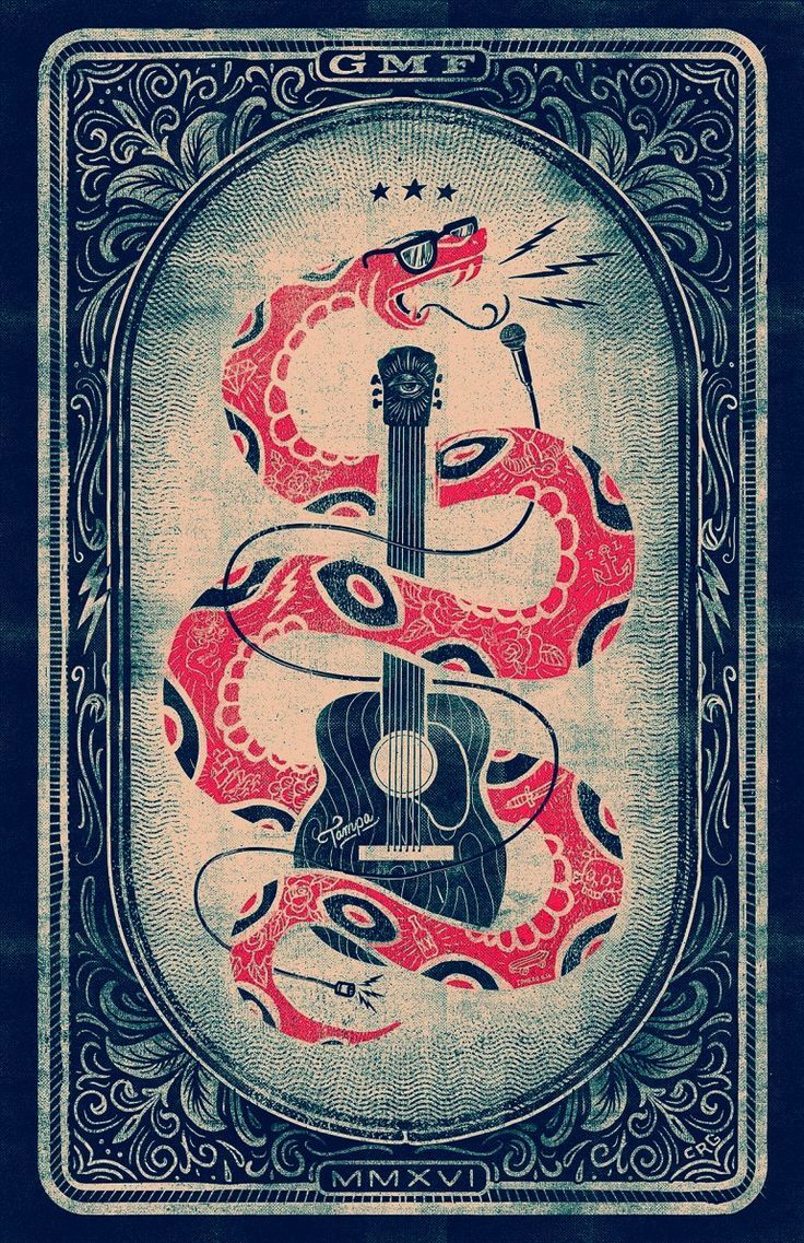 Gasparilla Music Festival 2016 – Gigposter | Vintage looking texture poster design Illustration Rock and roll Snake
