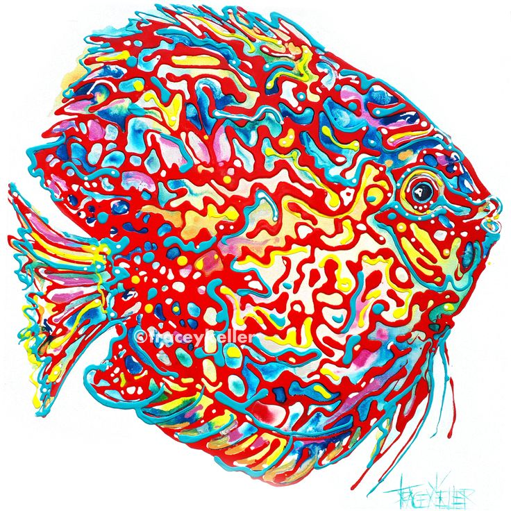 Free Flow Fish | Fish Painting Acrylic and Resin on Canvas 90cm x 90cm