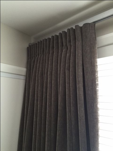 Boy's Bedrooms: Lined curtains in a linen blend teamed with a slatted blind to filter light