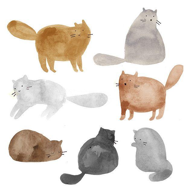 pisici, acuarela simpla si de efect, imi place cit is de grase :p