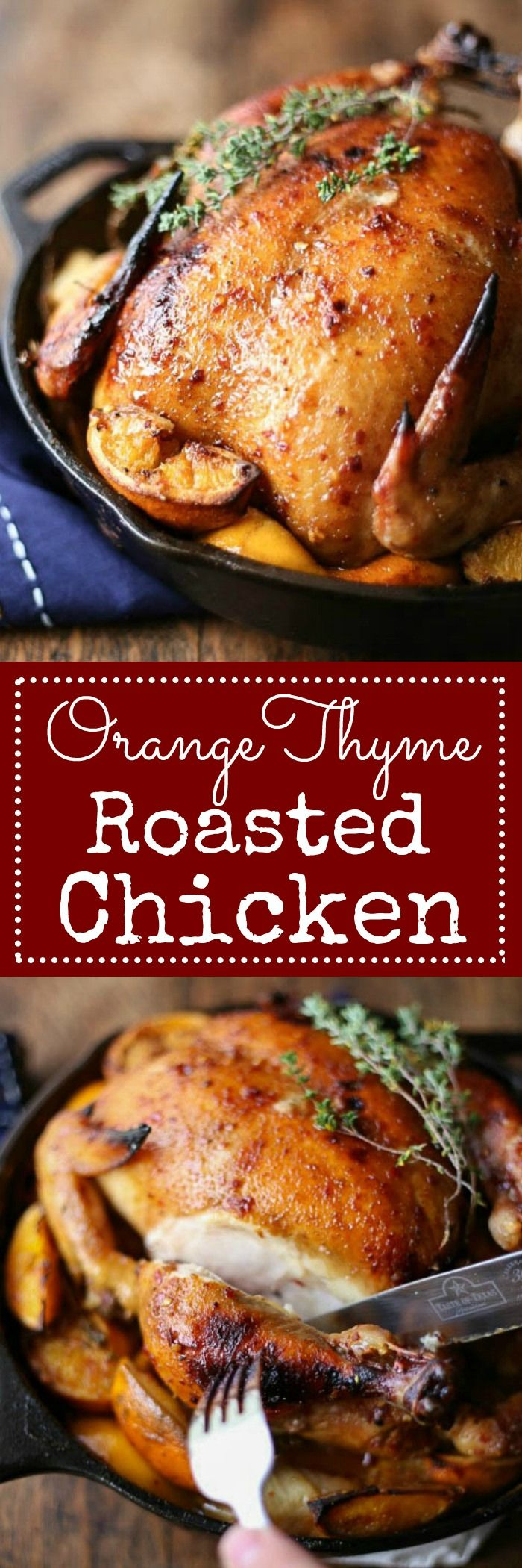 Orange Thyme Roasted Chicken - A whole chicken roasted in a cast iron pan on a bed of oranges, onion and fresh thyme. Maybe the best chicken you've ever had! | louloubiscuit.com