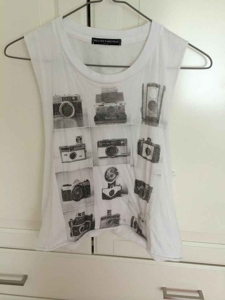 brandy Melville Camera Graphic Muscle Tee Top