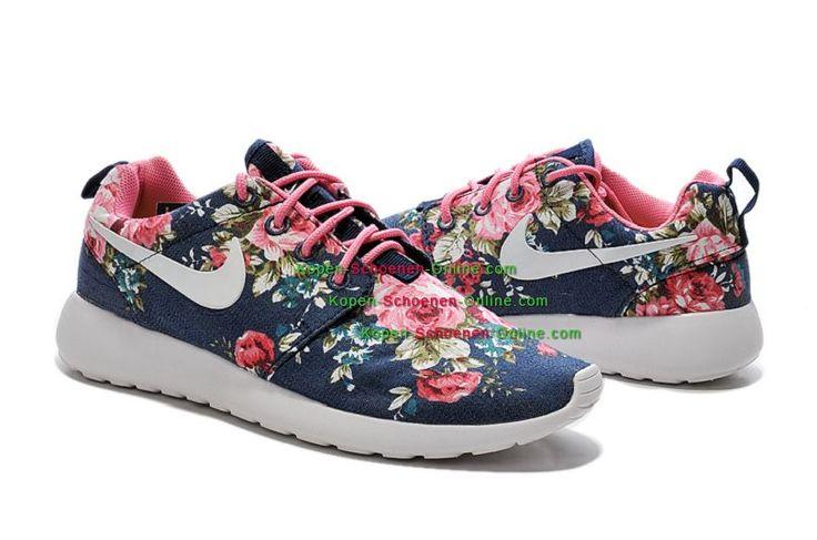 Nike Roshe Run Floral Dames Schoenen Roze/Groene/Donkerblauw/Wit