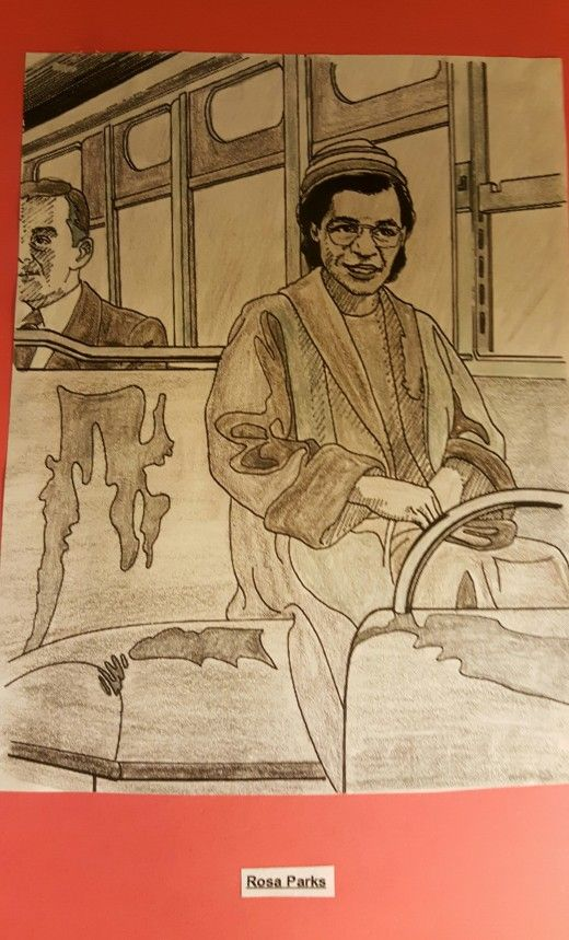 """I colored this picture of Rosa Parks by using a page from """"Great African Americans Coloring Book""""."""