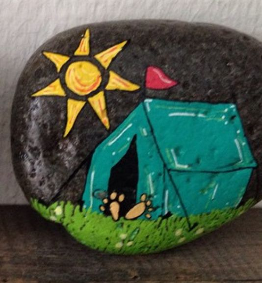 Tent Camping Painted Rock Painted Rocks Kids Painted
