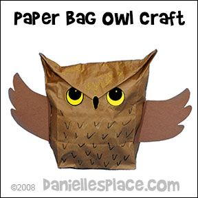Owl Paper Bag Craft for Children from www.daniellesplace.com