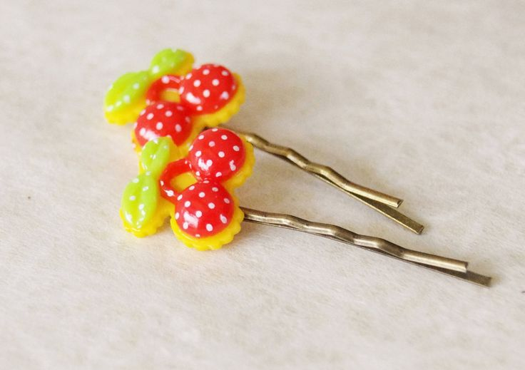 Rockabilly Red Cherry Bobby Pins / Polka Dot Cherry Hair Clip Set / Pin-Up Cherries Hair Pins / Set of 2 Hair Pins by SmittenKittenKendall on Etsy