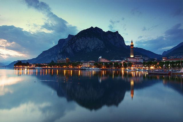 Lecco town after sunset, Brianza, Lombardy, Italy