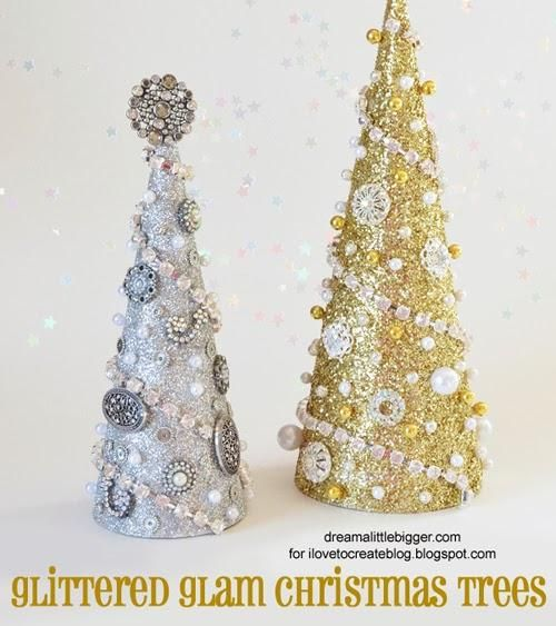 DIY Glittered Glam Christmas TreesHoliday, Crafts Ideas, Christmas Crafts, Glitter Glam, Diy Christmas Trees, Ilovetocr Blog, Glam Christmas, Christmas Decor, Christmas Art Projects
