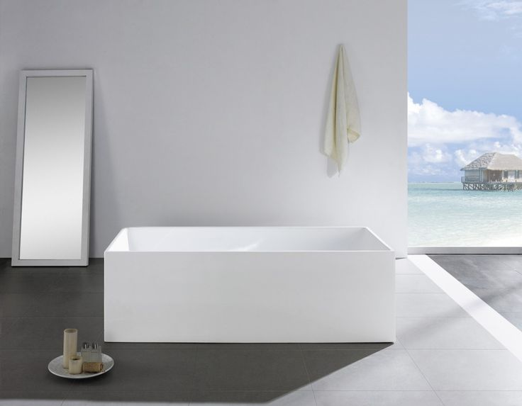 Quadra White Corner Back To Wall Freestanding Bathtub 1700mm   $1199
