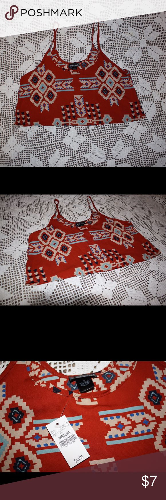 Aztec Crop Top Aztec crop top! Cute with high waisted shorts! Never worn Tops Crop Tops