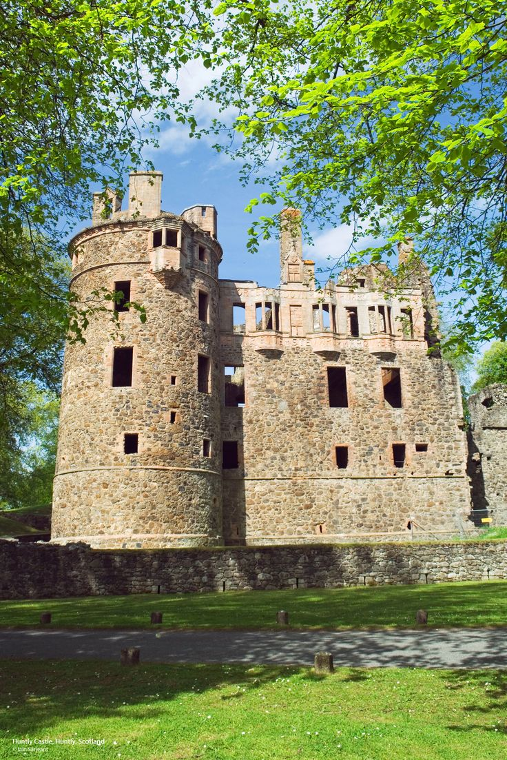 Huntly Castle in Huntly, Aberdeenshire, is majestically sited where the rivers Bogie and Deveron join. Remarkable for its splendid architecture, Huntly Castle served as a baronial residence for five centuries. Many impressive features include fine heraldic sculpture and inscribed stone friezes. The earliest stronghold on the site sheltered Robert the Bruce in the 14th century.