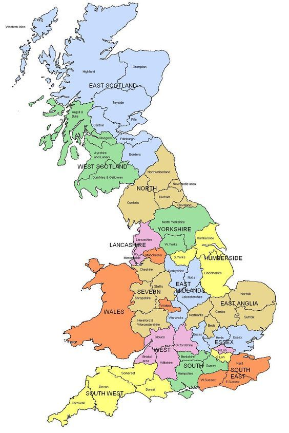 Map of Regions and counties of England, Wales, Scotland