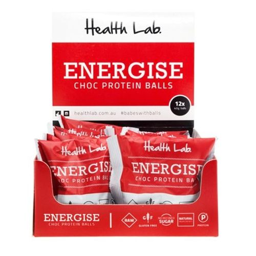 Wrapped 12 Protein Balls 40g - Energise Choc - Health Lab (12x40g)