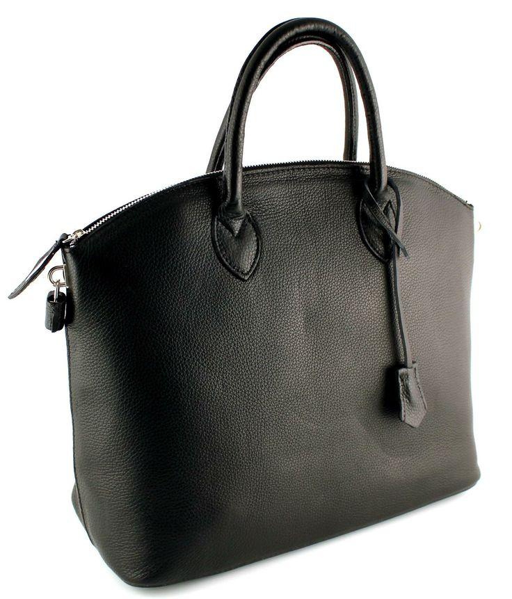 Prachtige ruime zwart leren tas met rits. Handgemaakt uit Italië.