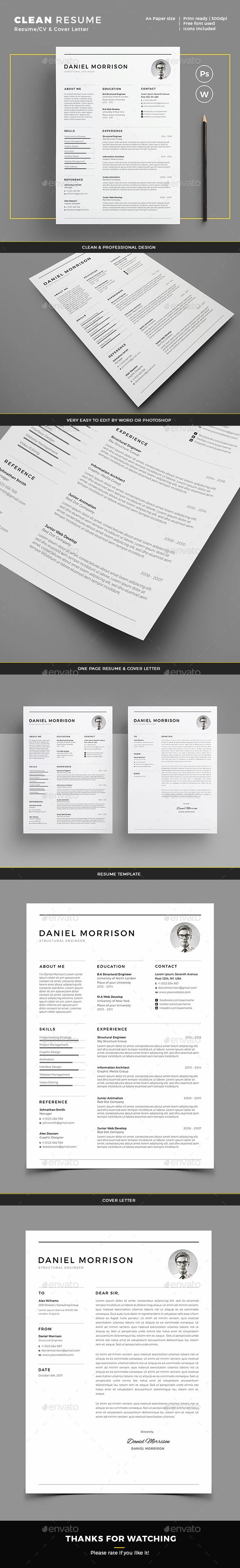 Clean Resume Download%0A  simple  clean  creative  Resume  template   professional  minimal Resumes