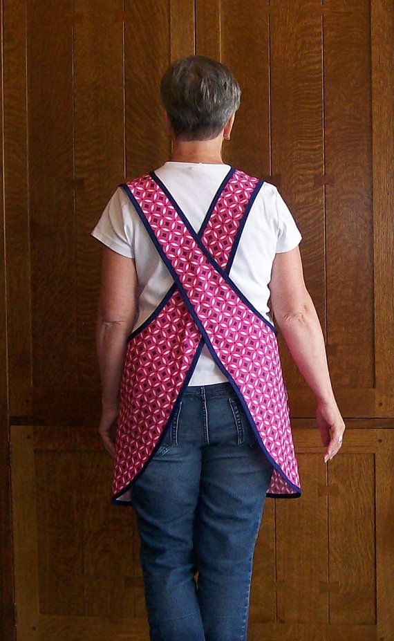 Pink and Navy Cross Back Smock Apron  Art by SusiesTieOneOnAprons