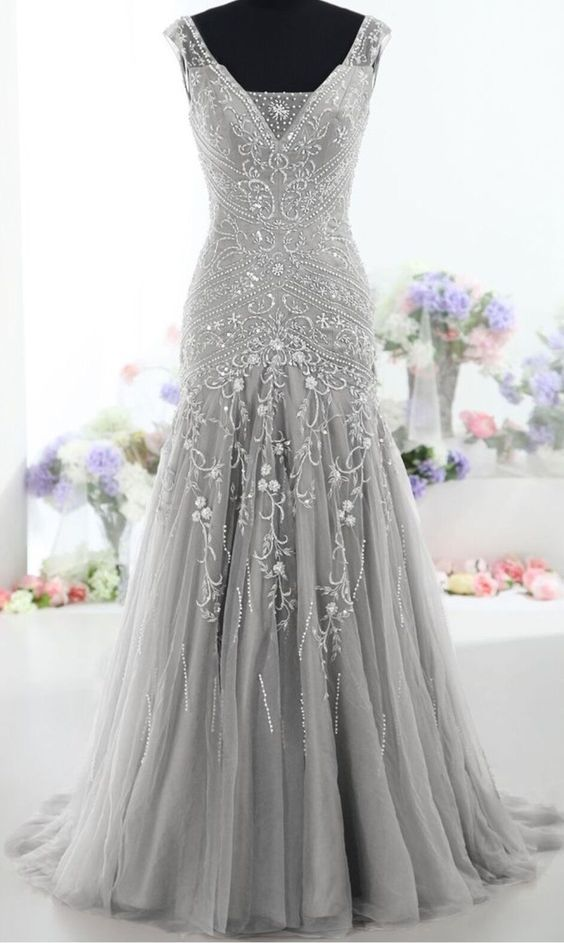 2017 Custom Made Pretty Gray Long Mermaid Beading Prom Dresses ,Charming V-Neck Evening Dresses,Party Prom Dresses