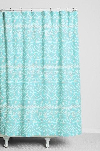 Turquoise shower curtain.