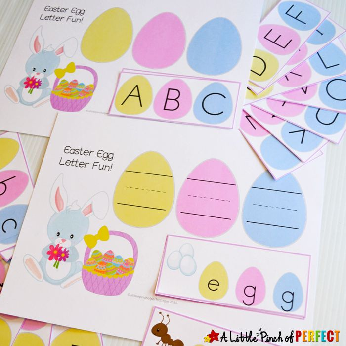 Easter Egg Alphabet Letter Match Free Printable: This activity comes with uppercase and lowercase letters, 2 mats including one to write on, and some three letter words for your budding reader. (Easter, Preschool, Kindergarten)