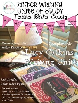 Organize your Lucy Calkins Kindergarten writing instructional resources with this set of writing text type specific binder covers! These covers are color coded by writing text type. This set has 16 pages of prefilled and editable cover pages.Create your own colored coded, unit specific writing resource binders to organize all your Lucy Calkins writing instructional resources at your fingertips.