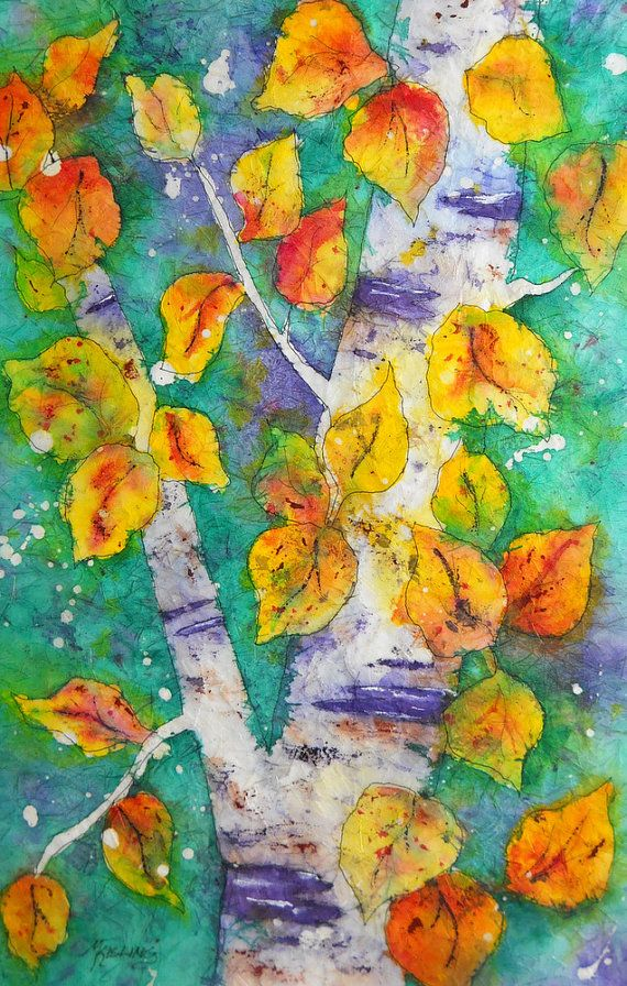 I want this.  Watercolor Batik of Aspen Tree and Leaves by by MarthaKislingArt, $100.00