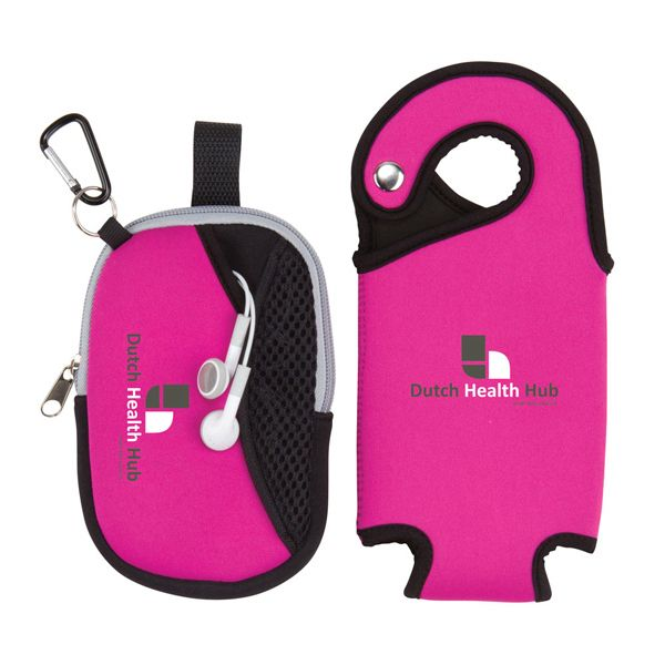 Hydro Wellness Kit made of Neoprene with a Neoprene insulated sleeve to protect bottle. A detachable small pouch for individual use at front for storing smart phones, MP2 players and your credit card/cash. A metal D-ring at front to hold keys. Water bottle/cell phone are not included.