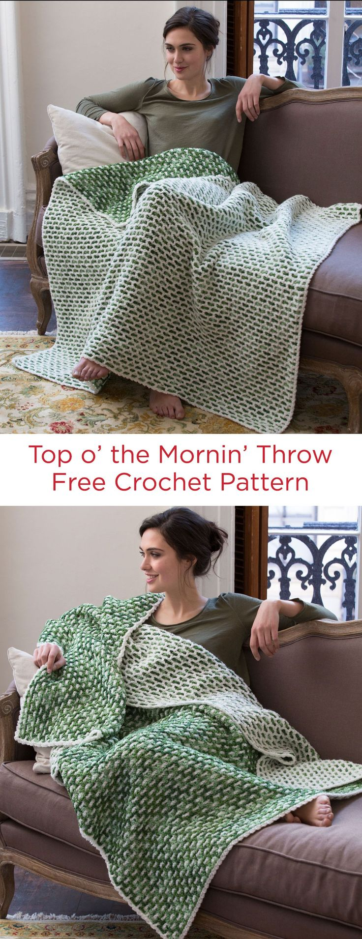 Top o' the Mornin' Throw Free Crochet Pattern in Red Heart Yarns -- Whether you're Irish or are just looking to crochet a wonderful reversible throw, this design is perfect! This ingenious stitch pattern may take a while to master, but you can be sure having this throw will feel like having a pot of gold.