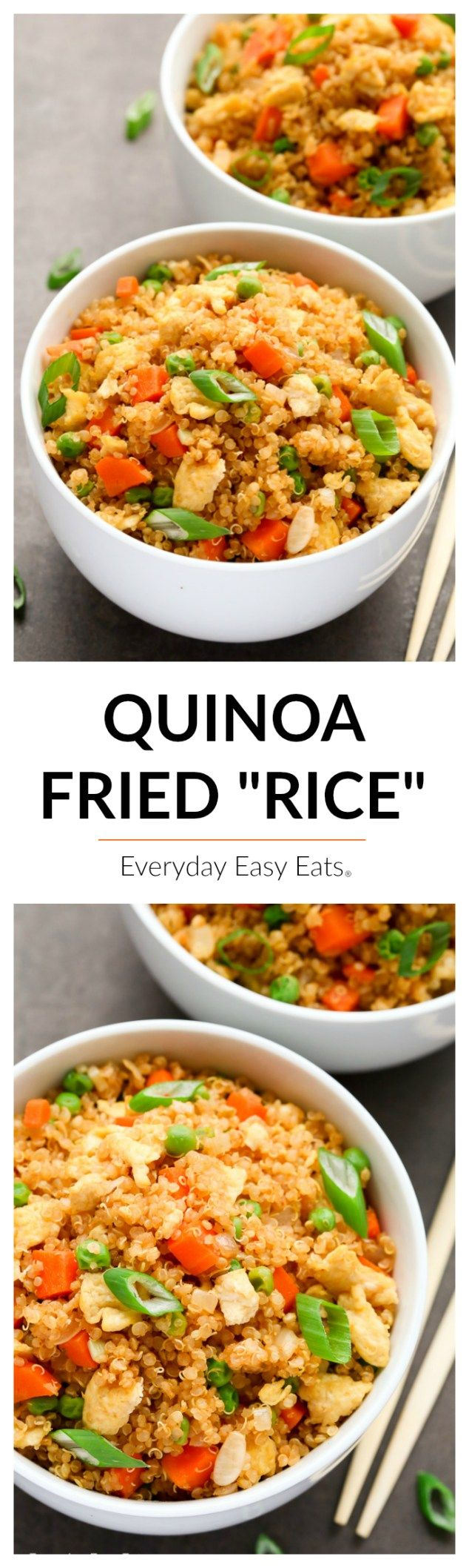 """This tasty recipe for Quinoa Fried """"Rice"""" is a healthier spin on a takeout favorite! A simple-to-make, protein-packed vegetarian main or side dish."""