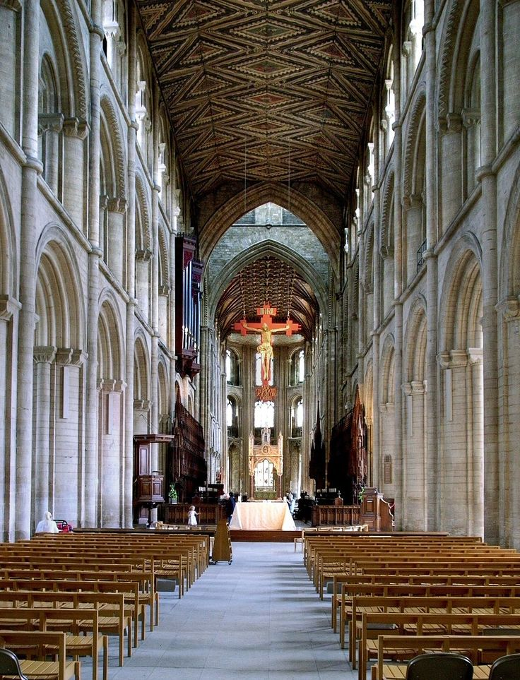 From Wikiwand: The nave of Peterborough Cathedral (1118–93) in three stages of arcade, gallery