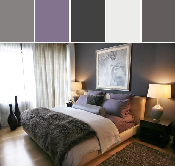 Purple and gray bedroom designed by allmodern via stylyze for Bedroom inspiration color palette
