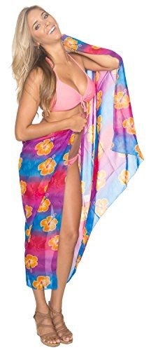 "Welcome to La Leela Beautiful Sarong for all events / party/ Pool/Cruise/ holiday and Day at beach for all season.  Key Features:- ==> Clothing Type : Sarong ==> Fabric : Lightweight chiffon ==> Size: Wrap Around ➤ Bust ☛ US Size : Up to 22W (1X) ♚ UK ☛ Up to 24 ➤ Waist ☛ Up to 44 ♛ LENGTH ☛ 72"" [182 cms]♚ WIDTH ☛ 42"" [107 cms]==> Wash Care : Machine Wash ==> Occasion : Beach,Party, Vacations Note:-==> Du..."