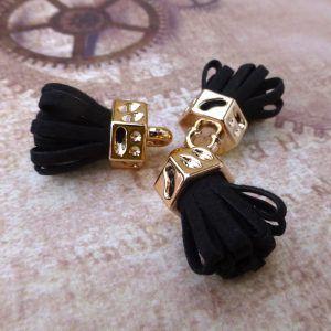 Black Suede Tassel Pendants Gold Plated Pack of 5, jewellery making findings at www.kookeli.com