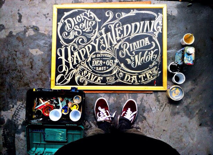 "Wedding sign on clear calkboard ""how big or small we can paint it"""