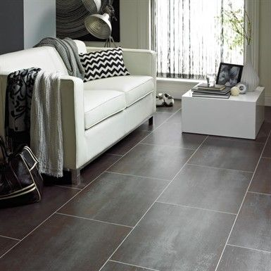 Elegant Vinyl Tiles In Basement
