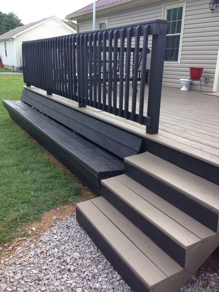 Two Toned Deck Built In Bench Black Railing Gray Flooring Pergola Backyard Pergola