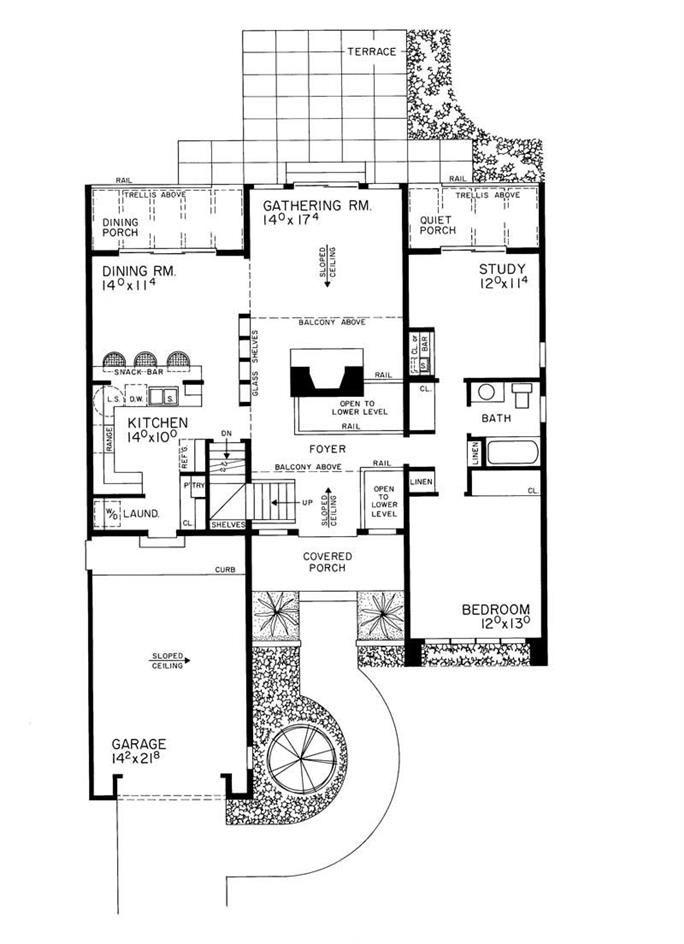 Contemporary Plan 2 Bedrms 2 0 Baths 1 999 Sq Ft Plan 137 1284 House Plans Contemporary House Plans Contemporary House