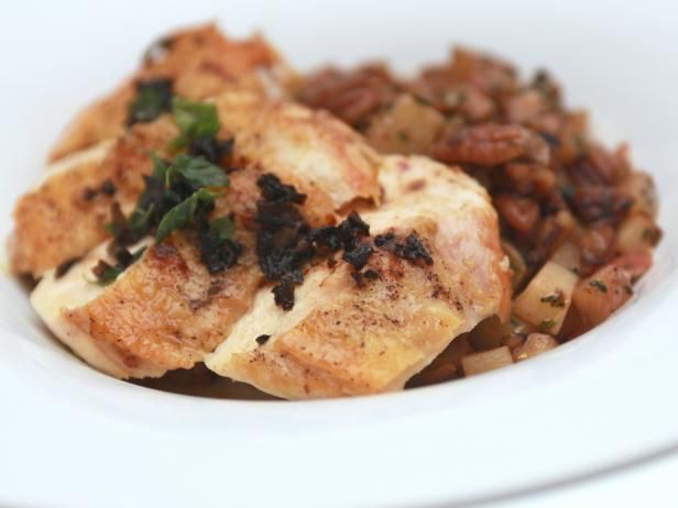 ... Chicken Breast with Pecan and Potato Hash and Spicy Brown Butter Sauce